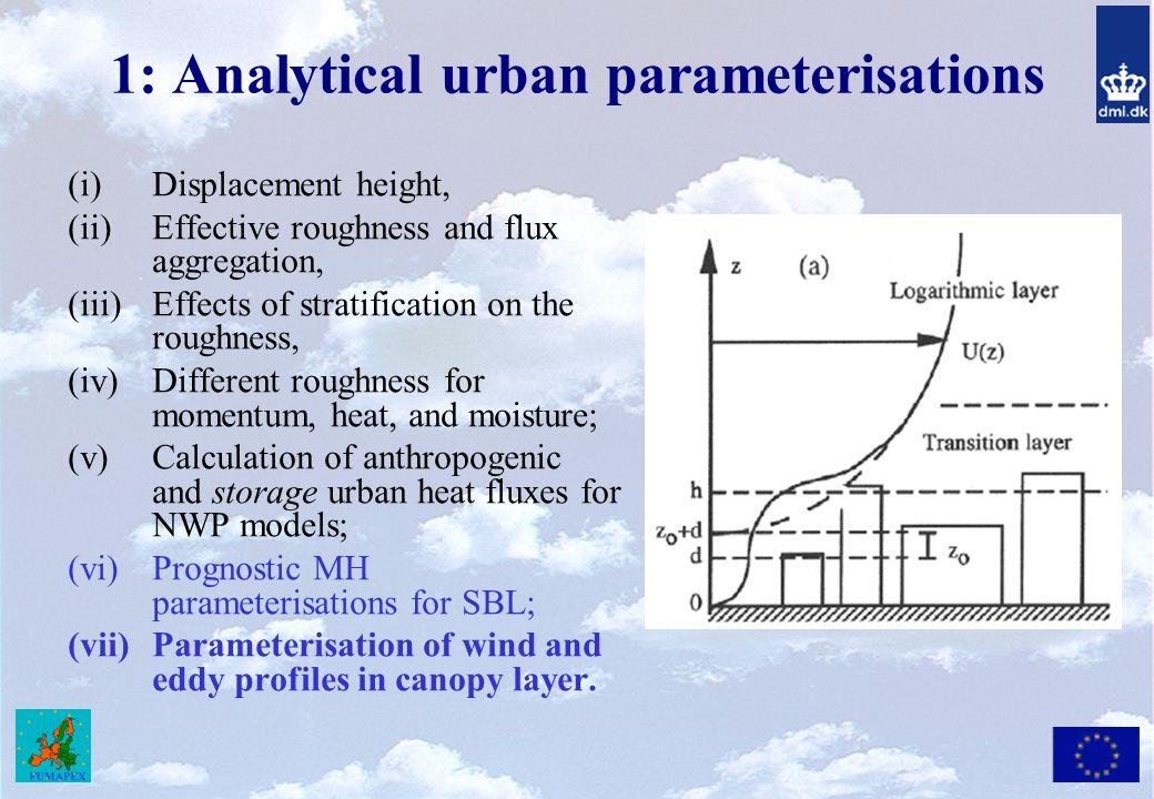 1: Analytical urban parameterisations