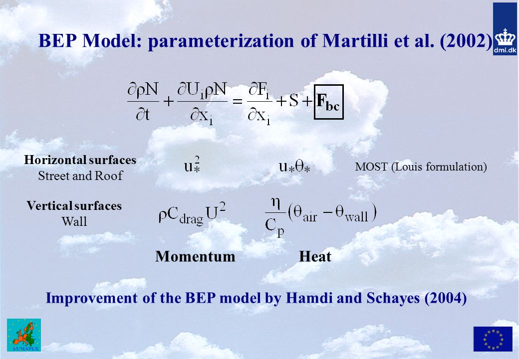 BEP Model: parameterization of Martilli et al. (2002)