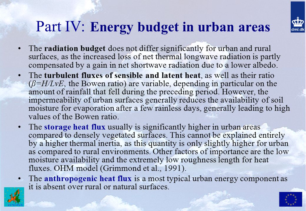 Part IV: Energy budget in urban areas