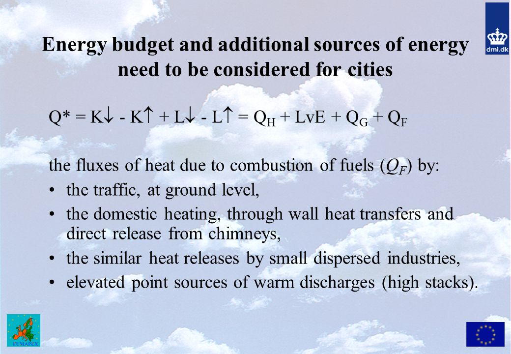 Energy budget and additional sources of energy need to be considered for cities