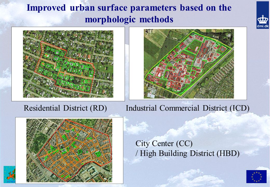 Improved urban surface parameters based on the morphologic methods