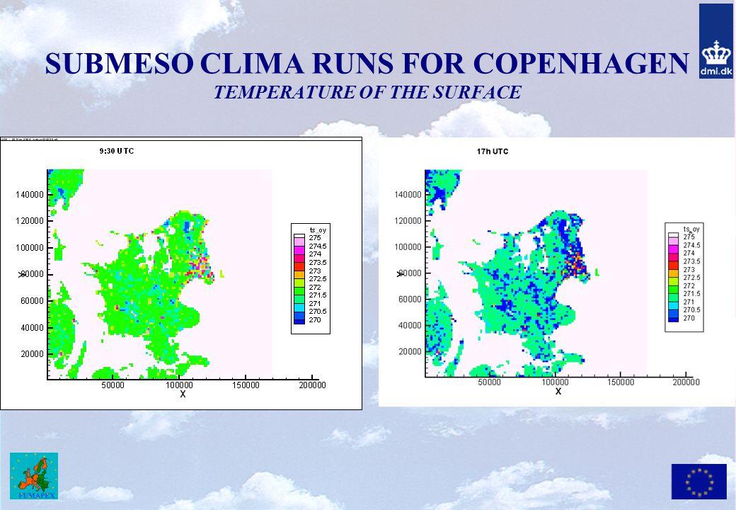 SUBMESO CLIMA RUNS FOR COPENHAGEN TEMPERATURE OF THE SURFACE