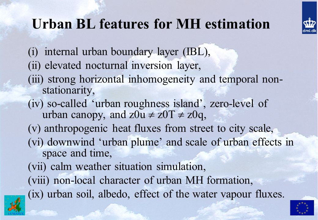 Urban BL features for MH estimation