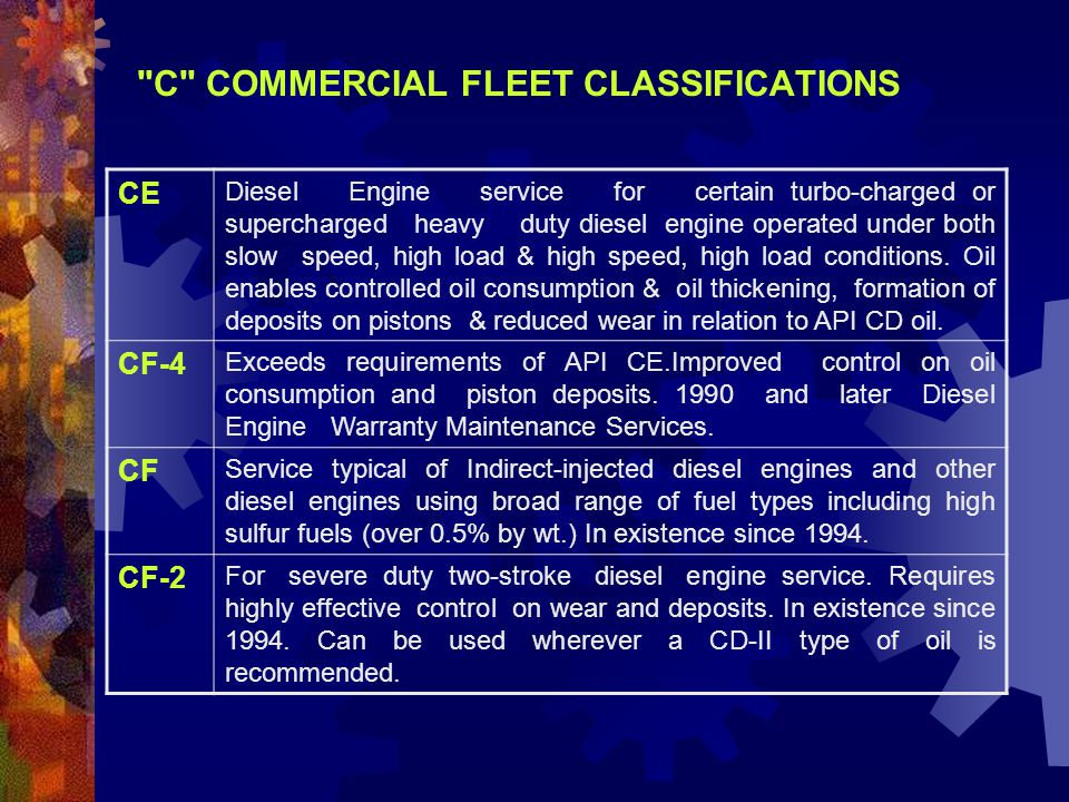 C COMMERCIAL FLEET CLASSIFICATIONS