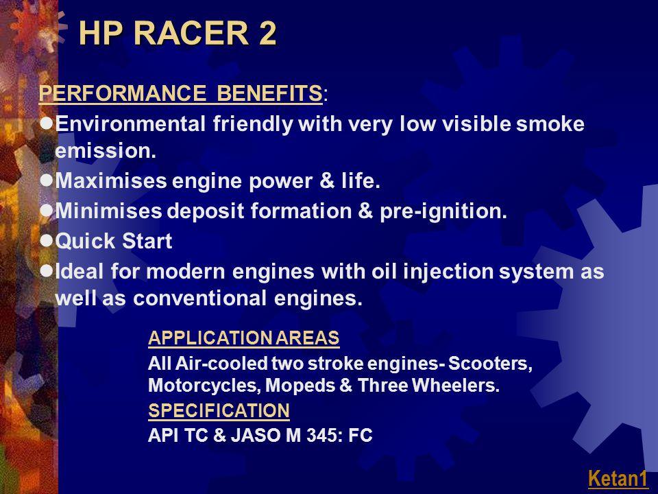 HP RACER 2 PERFORMANCE BENEFITS: