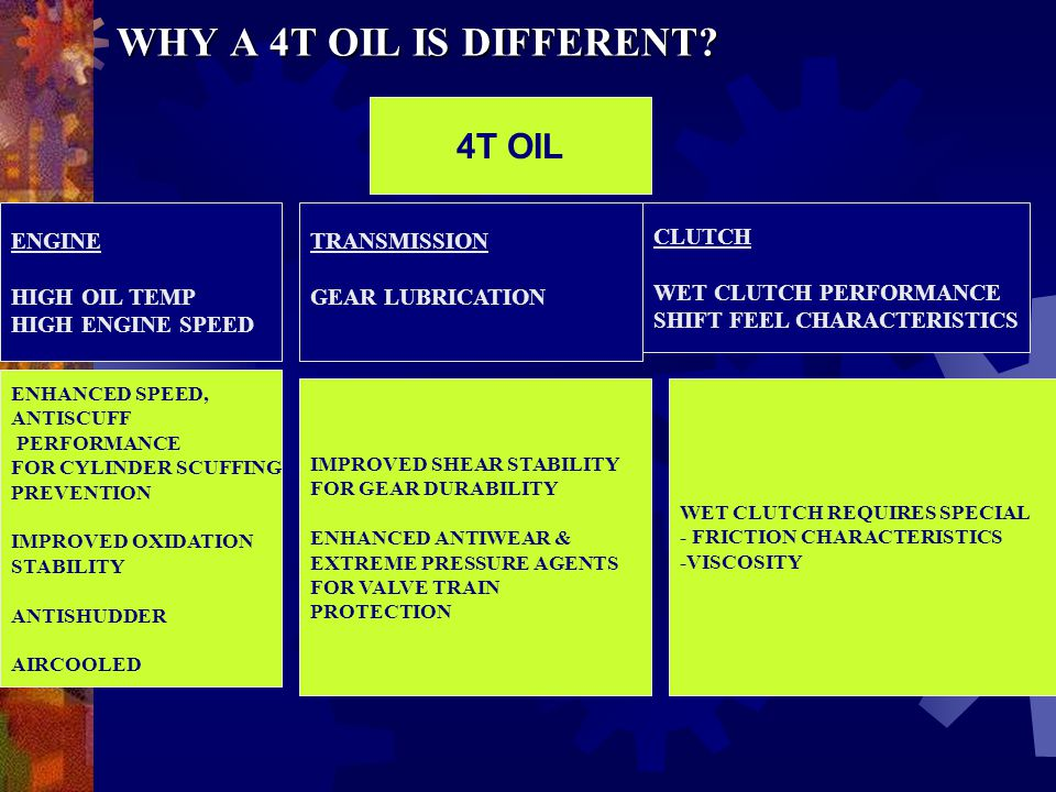 WHY A 4T OIL IS DIFFERENT 4T OIL ENGINE HIGH OIL TEMP