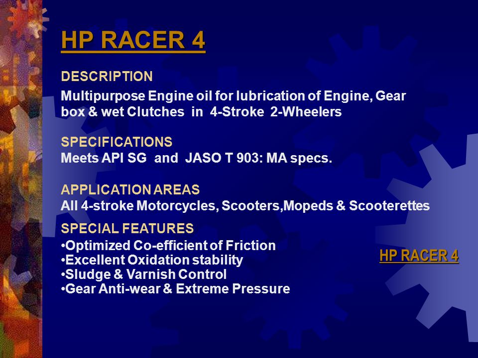 HP RACER 4 HP RACER 4 DESCRIPTION
