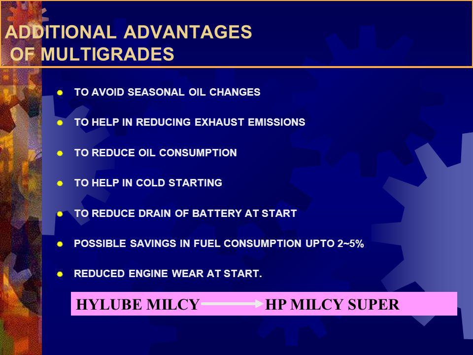 ADDITIONAL ADVANTAGES OF MULTIGRADES