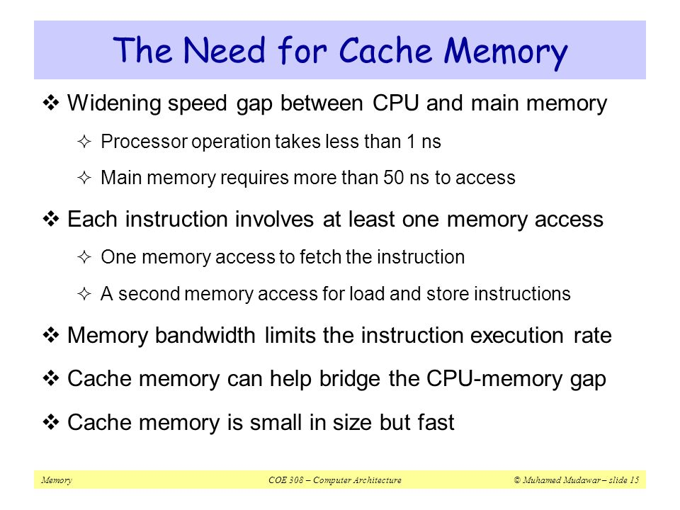 The Need for Cache Memory