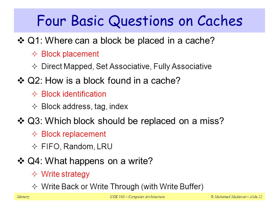 Four Basic Questions on Caches