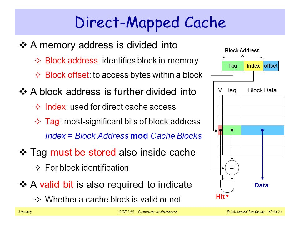Direct-Mapped Cache A memory address is divided into
