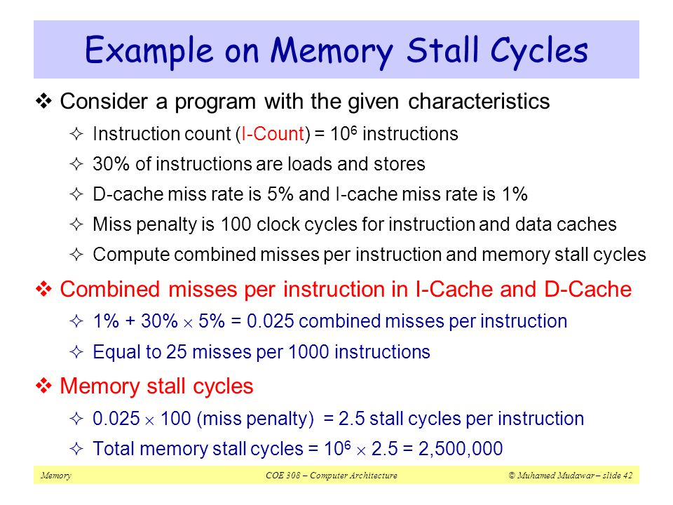 Example on Memory Stall Cycles