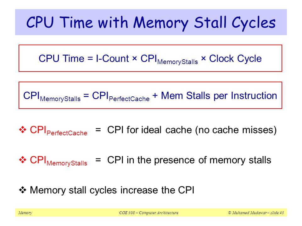 CPU Time with Memory Stall Cycles