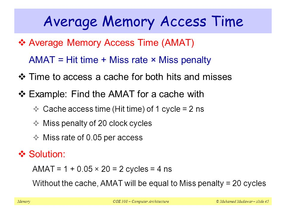 Average Memory Access Time