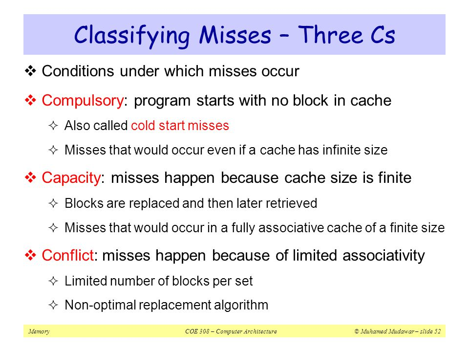 Classifying Misses – Three Cs