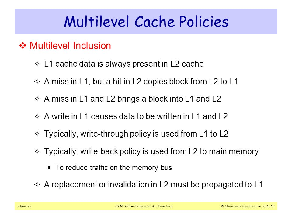 Multilevel Cache Policies