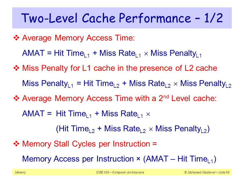 Two-Level Cache Performance – 1/2