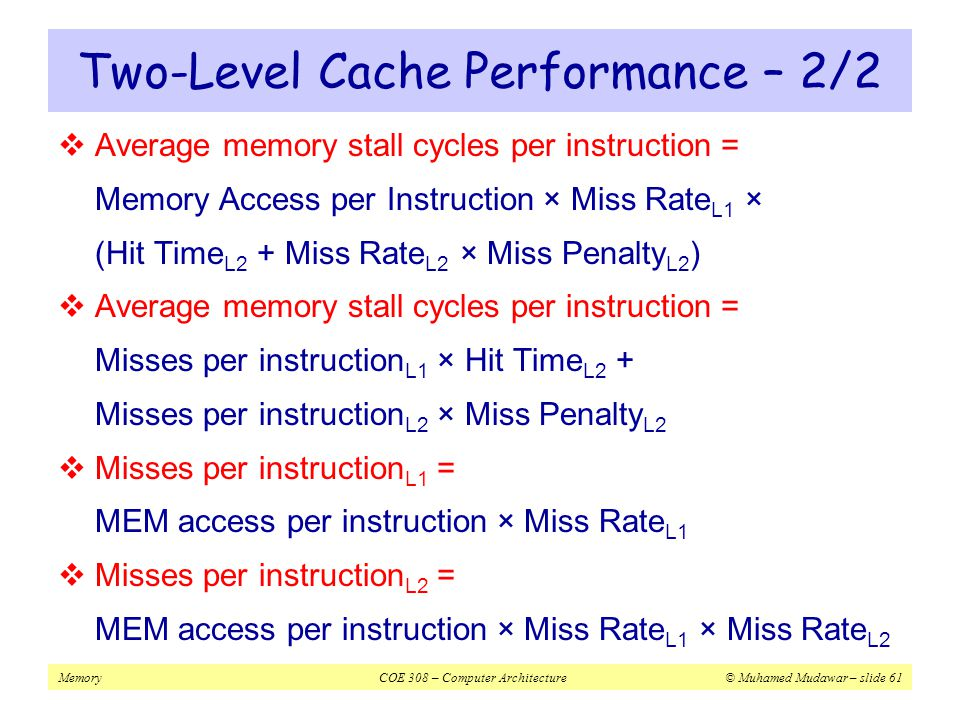 Two-Level Cache Performance – 2/2