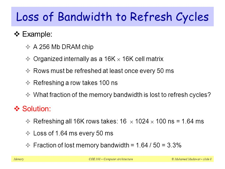 Loss of Bandwidth to Refresh Cycles