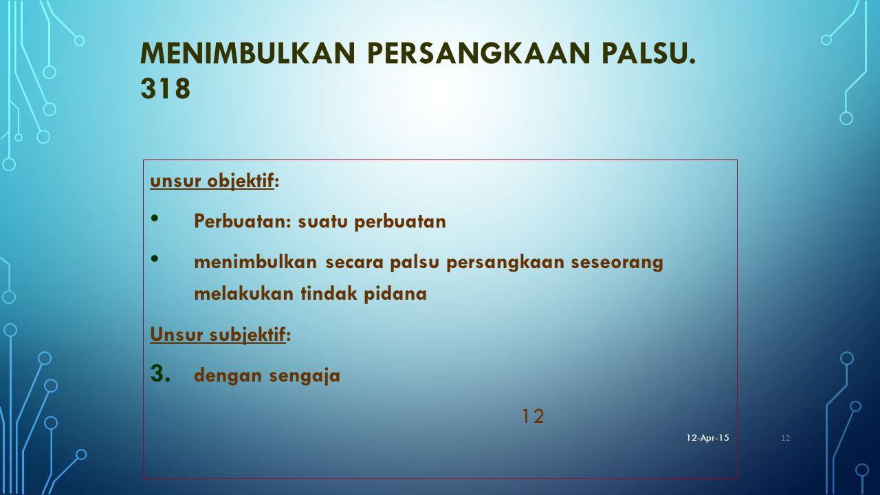 MENIMBULKAN PERSANGKAAN PALSU. 318