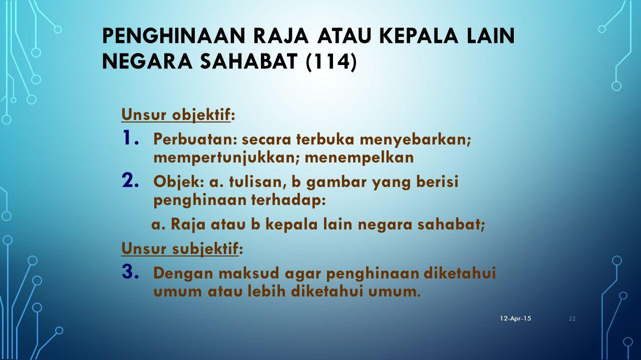 Penghinaan Raja atau Kepala lain Negara sahabat (114)