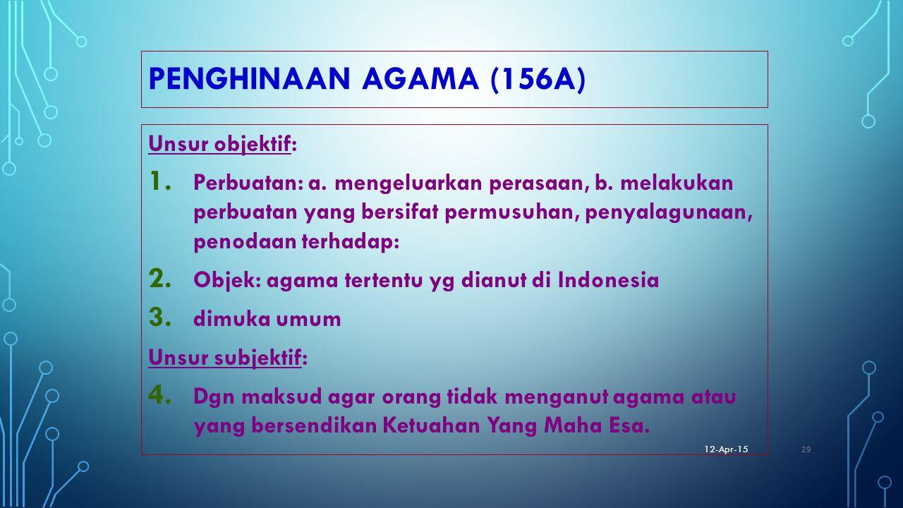 PENGHINAAN AGAMA (156A) Unsur objektif: