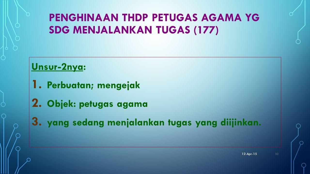 Penghinaan thdp petugas agama yg sdg menjalankan tugas (177)