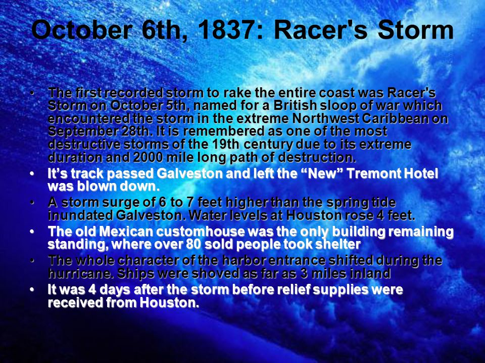 October 6th, 1837: Racer s Storm