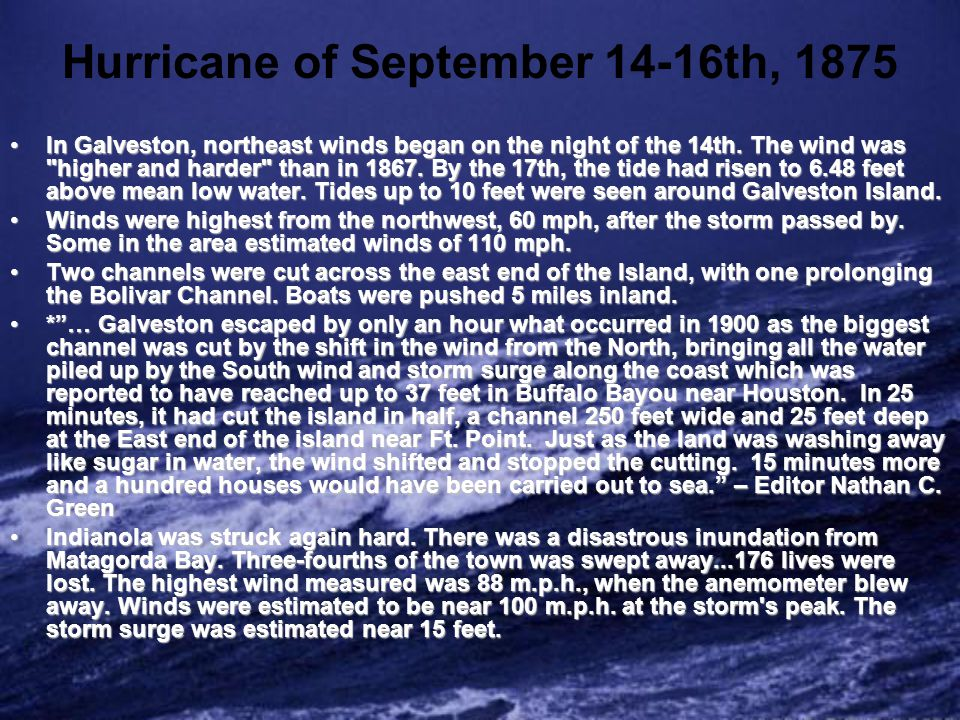 Hurricane of September 14-16th, 1875