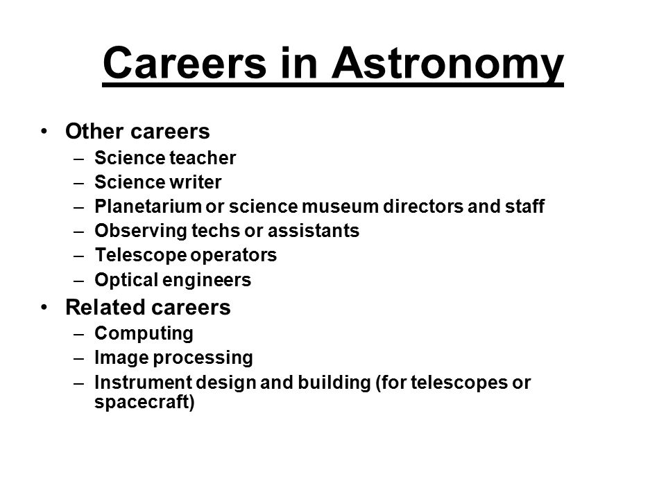 Careers in Astronomy Other careers Related careers Science teacher