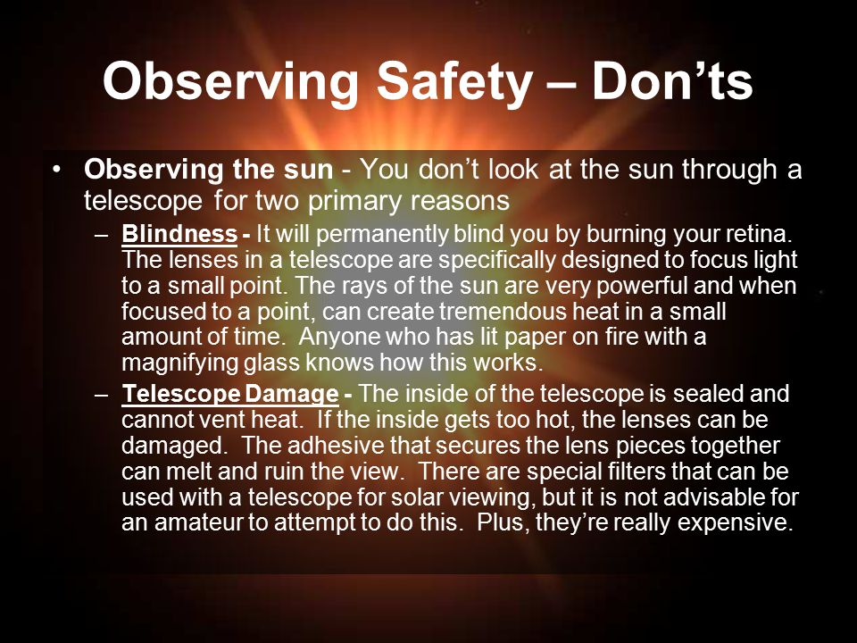 Observing Safety – Don'ts
