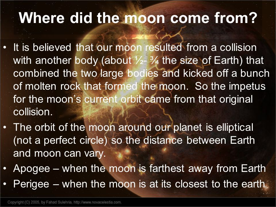 Where did the moon come from