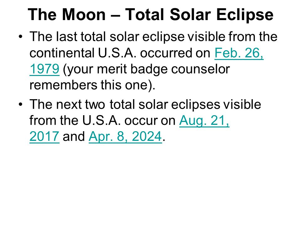 The Moon – Total Solar Eclipse