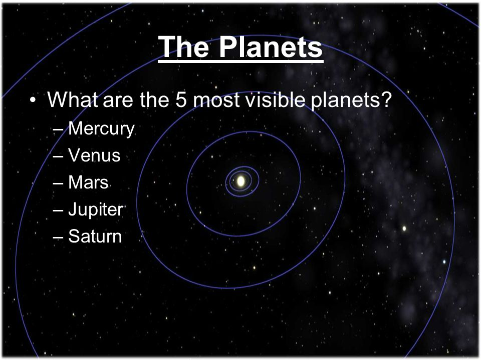 The Planets What are the 5 most visible planets Mercury Venus Mars