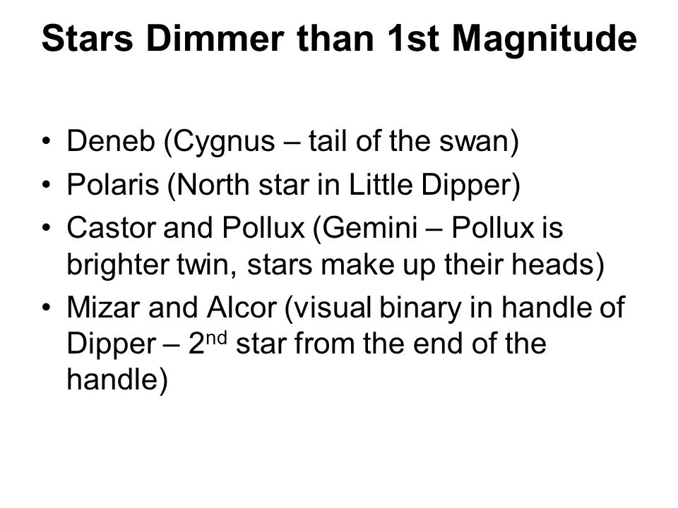 Stars Dimmer than 1st Magnitude