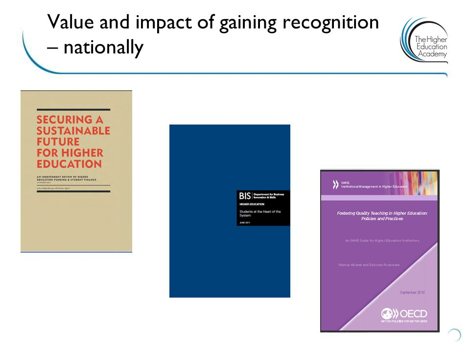 Value and impact of gaining recognition – nationally