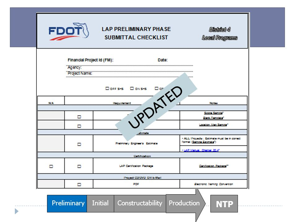 UPDATED Preliminary Initial Constructability Production NTP