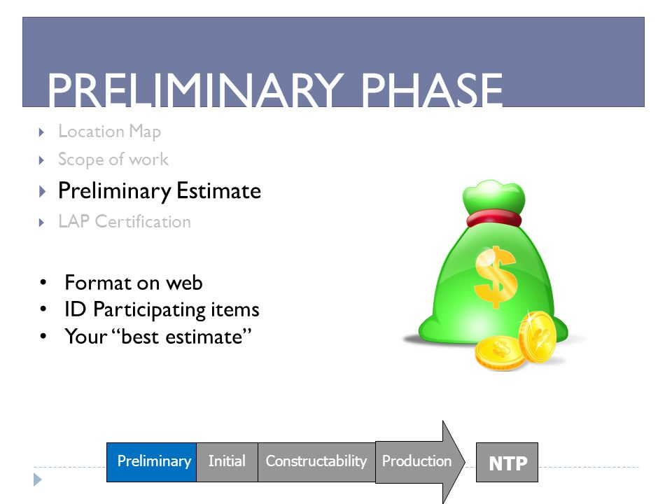 PRELIMINARY PHASE Preliminary Estimate Format on web