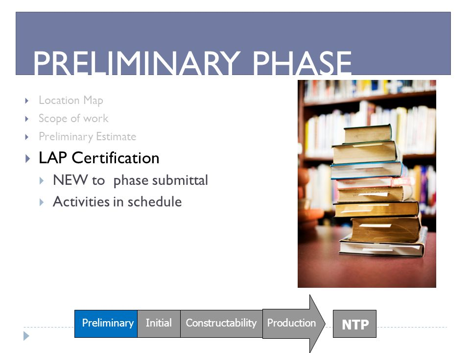 PRELIMINARY PHASE LAP Certification NEW to phase submittal