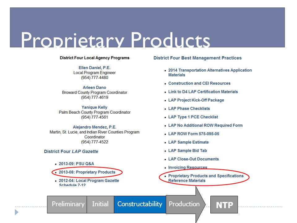 Proprietary Products NTP Preliminary Initial Constructability