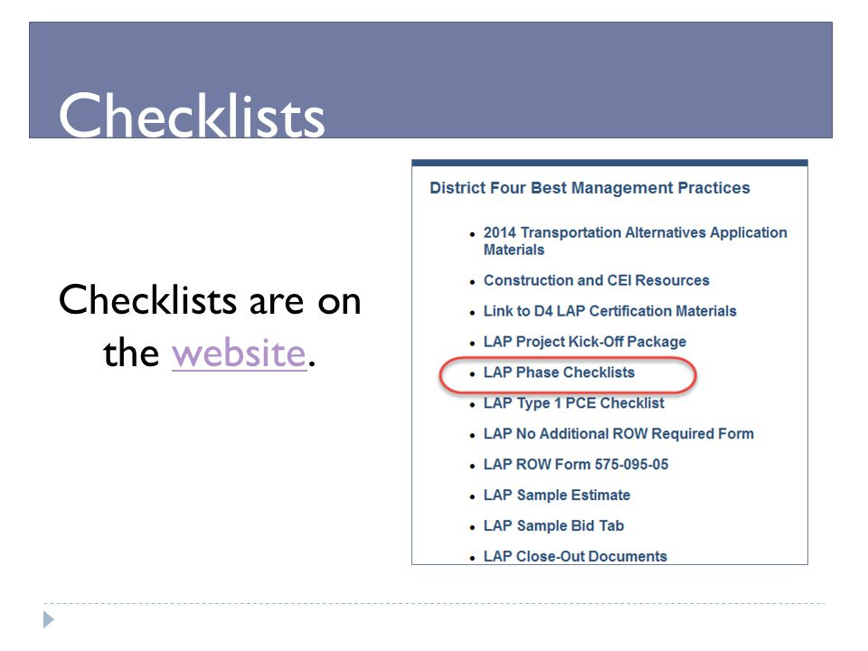Checklists are on the website.