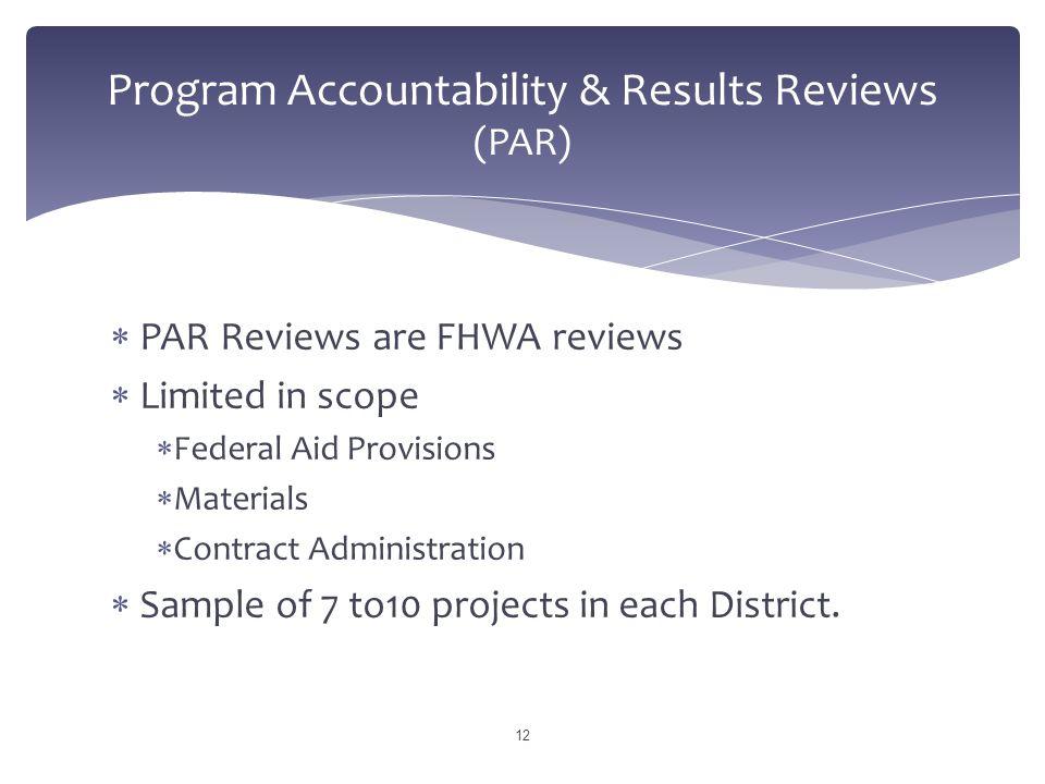 Program Accountability & Results Reviews (PAR)