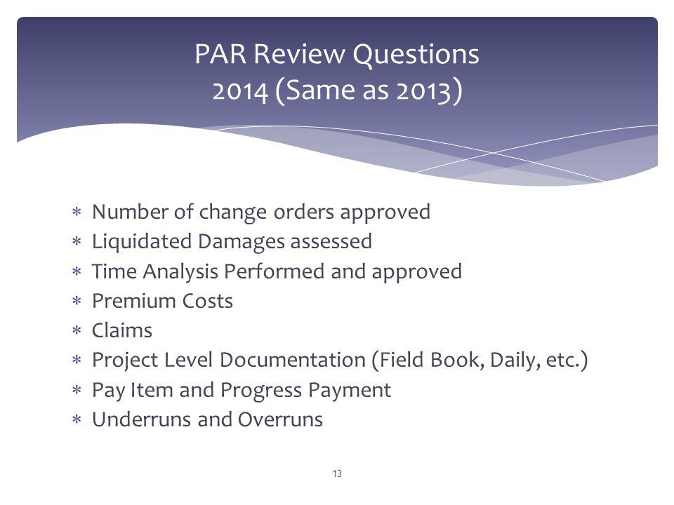 PAR Review Questions 2014 (Same as 2013)