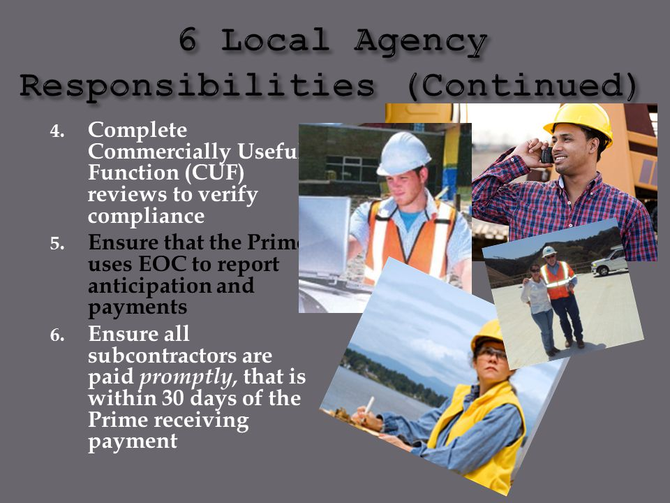 6 Local Agency Responsibilities (Continued)