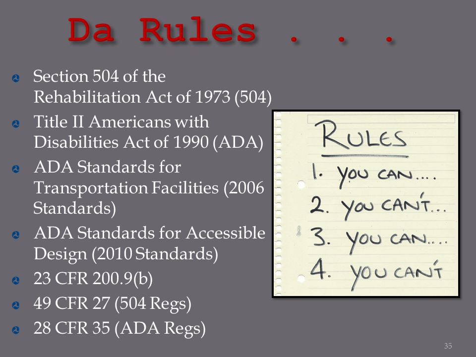 Da Rules . . . Section 504 of the Rehabilitation Act of 1973 (504)