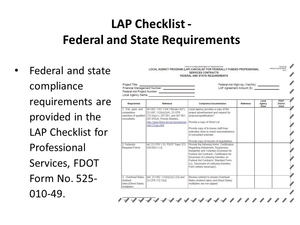 LAP Checklist - Federal and State Requirements