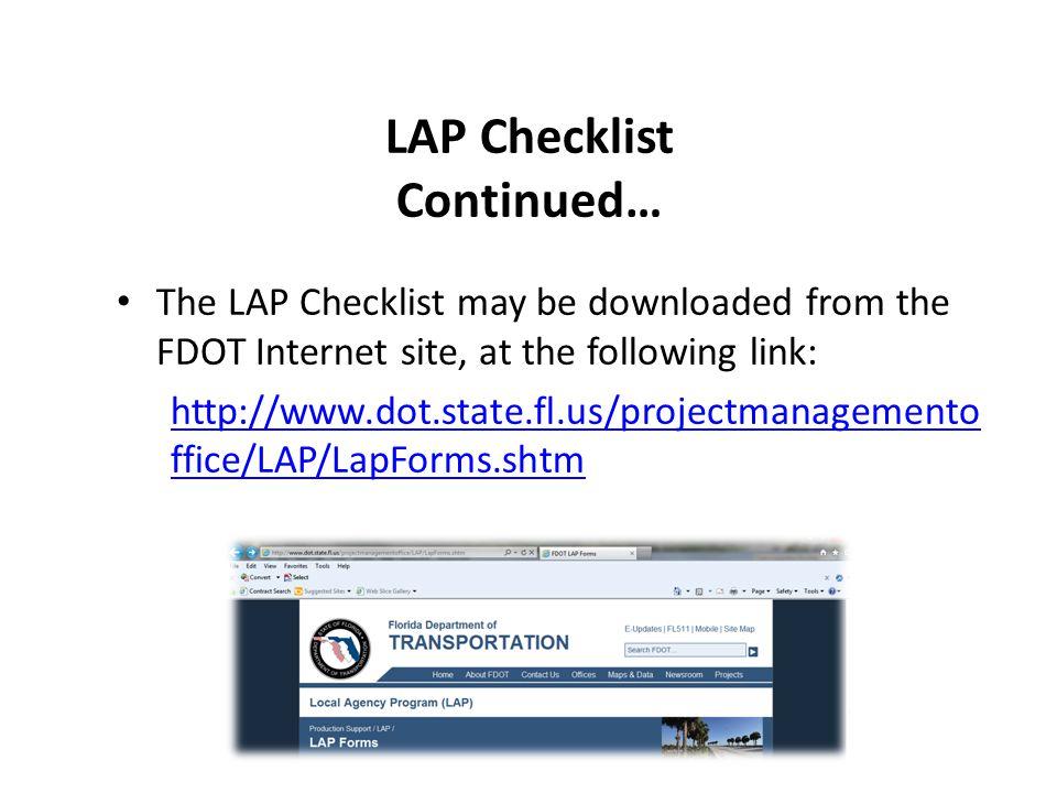 LAP Checklist Continued…