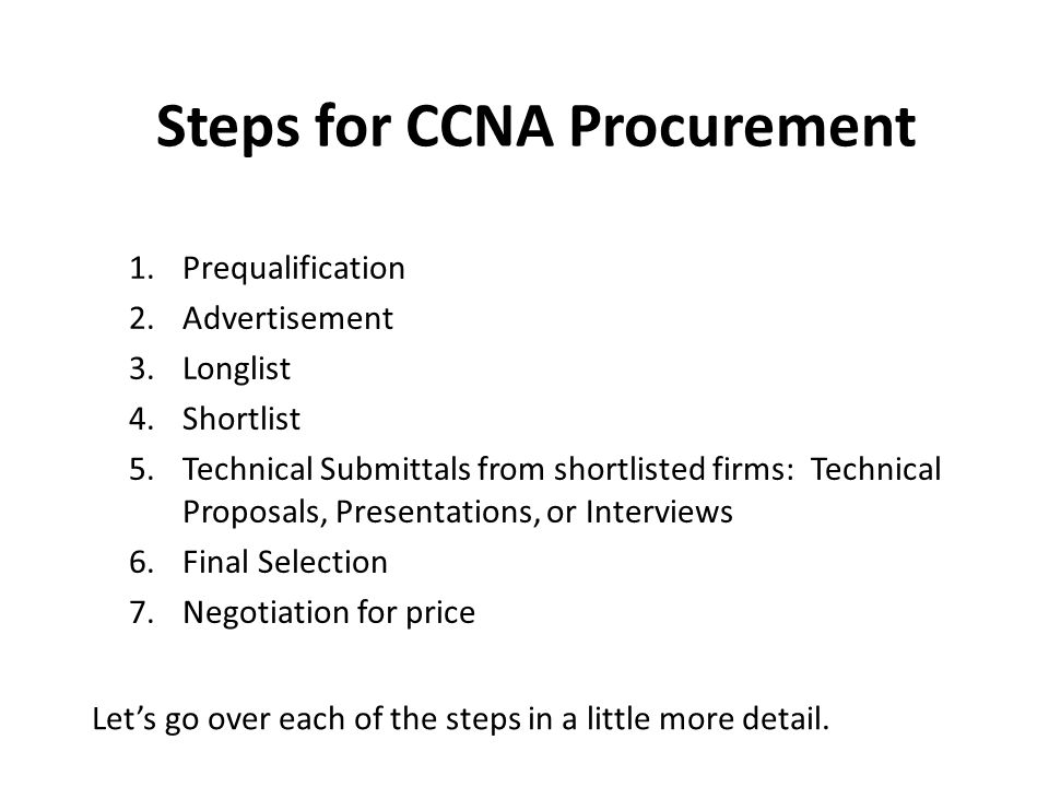 Steps for CCNA Procurement