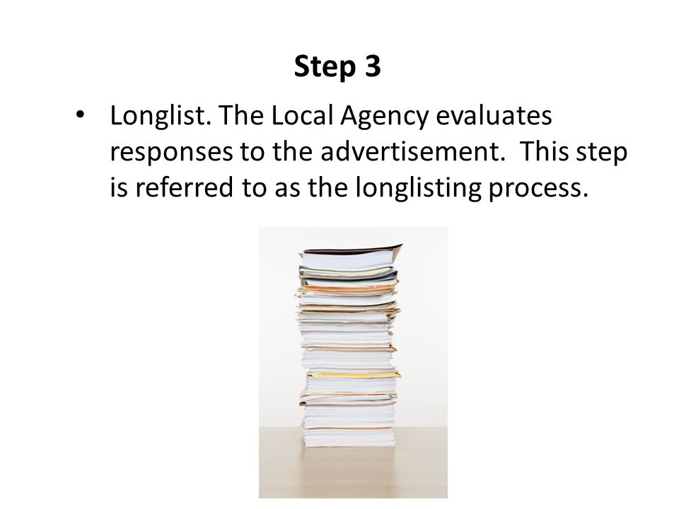 Step 3 Longlist. The Local Agency evaluates responses to the advertisement.