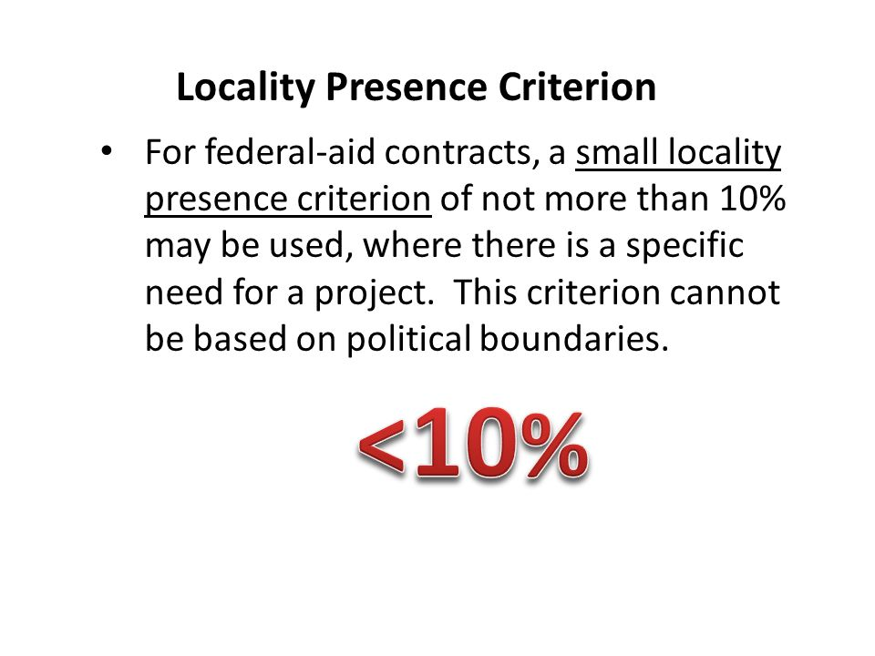 Locality Presence Criterion